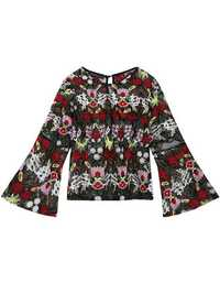 Sexy Women Floral Embroidered Bell-Sleeve See-Through Blouses
