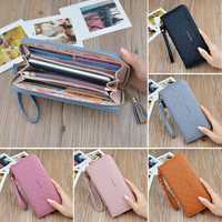 Women Large Capacity PU Leather Wrist Strap Zipper Pouch Wallet for Mobile Phone Under 5.5 Inch