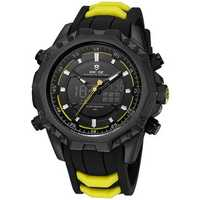 WEIDE 6406 Black Case Luminous Dual Display Digital Watch