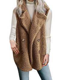 Women Winter Solid Color Sleeveless Fleece Button Vest Coats
