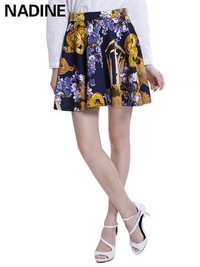 Nadine Elegant Printed Memory Foam Stretch High Waist Women Mini Skirt