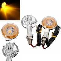 Pair Skull Skeleton LED Turn Signal Indicator Light For Harley Davidson Honda Suzuki Kawasaki