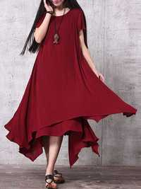 Women Pure Color Irregular Dress