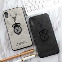 Bakeey Happy Deer Ring Holder Bracket TPU+PU Leather Protective Case For iPhone XS Max 6.5 Inch