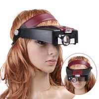 10X Lighted Magnifying Glass Headset Head Magnifier Adjustable-Headbrand