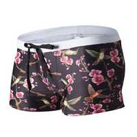 AUSTiNBEM Mens Summer Floral Printing Double Pockets Beach Swimming Shorts Casual Boxers