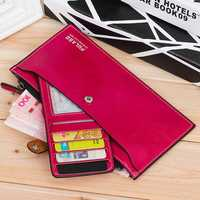 New Fashion Women High Quality PU Leather Long Wallet Zipper Handbag Card Holder Coin Purse