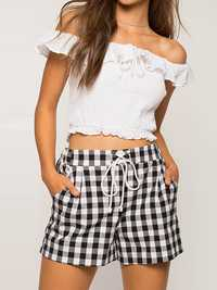 Plus Size Women Elastic High Waist Plaid Shorts