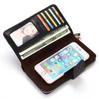Women Genuine Leather Vintage Zipper Long Wallet Phone Bag
