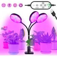 45W 78LED Three Head Red & Blue USB Powered Timing Dimmable Grow Light with Clip DC5V