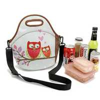 Stretchy Neoprene Insulated Lunch Bag Tote Reusable Bento Container Organizer With Shoulder Girdle