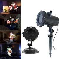 ARILUX® 12 Patterns 4 LED Remote Santa Claus Christmas Moving Laser Projector Landscape Stage Light