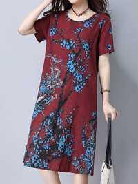 Vintage Women Printed Pocket Loose Short Sleeve Dresses