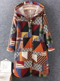 Casual Women Long Sleeve Geometric Printed Winter Hooded Coat