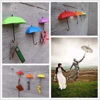 Honana DX-012 3PCS Creative Umbrella Shape Home Decoration Hook Paste Storage Pothook Novelty Wall Decor
