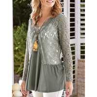 Lace Stitching Solid T-shirts