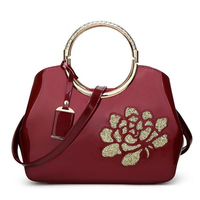 Embroidery Flower Bright Patent Leather Shell Ladies Handbag