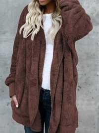 Women Multicolor Fluffy Faux Fur Soft Hooded Coats