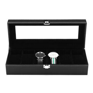 6 Slots Black Velvet PU Leather Watch Box Jewelry Display Storage Box
