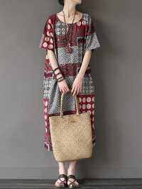 Floral Short Sleeve Vintage Maxi Dress