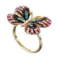 Fashion Colorful Butterfly 18K Gold Ring Luxury