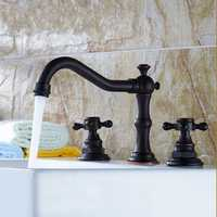 Contemporary Brass Bathroom Basin Faucet Mixer Tap Oil Rubbed Bronze Two Handle Hole
