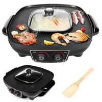 3L Multifunctional Electric BBQ Grill Pan Large Griddle Pot Hotpot Home Cook Set