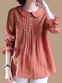 Women Elegant Solid Color Pleated Long Sleeve Blouse