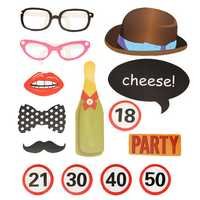 14Pcs Photo Mustache Stick Booth Prop Mask Props Wedding Single Gentlement Party Decoration