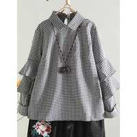 Casual Women Loose Turn Down Collar Grid Long Sleeve Blouse