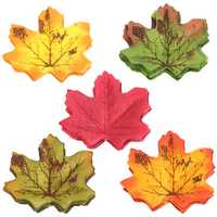 100Pcs Artificial Fall Leaves Autumn Maple Leaf Party Wedding Favor Decorations Shooting Prop