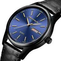 DEFFRUN DQ0006 Calendar Casual Style Leather Strap Men Watch