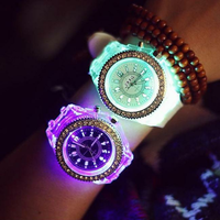 SBAO Fashion LED Luminous Men Women Quartz Watch Silicone Strap Night Running Sport Wristwatch
