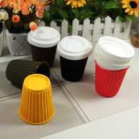 Silicone Reusable Travel Coffee Cup Mug 230ml / 8 Oz In Mint With White Lid