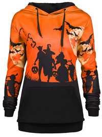 Halloween Print Patchwork Long Sleeve Hooded Sweatshirt