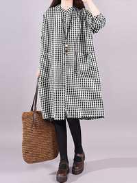 Plus Size Vintage Plaid Long Sleeve Women Shirts Dress