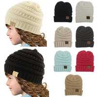 Children Girls Boys Winter Warm Knitted Hat Soft Solid Beanies Cap
