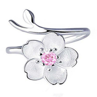 Purple Rhinestone Flower Charm Adjustable Open Ring