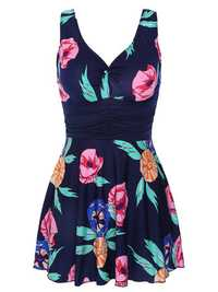 loral Blooming Pattern Backless Ruffle Breathable Swimdress