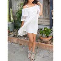 Girls Lace Patchwork Off Shoulder Strap Dress for 2Y-7Y