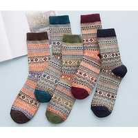 Ethnic Knitted Calf-high Woolen Socks Comfortable Soft Breathable Soft Stockings