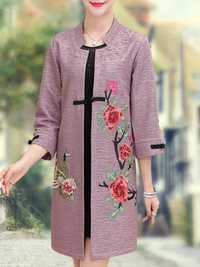 Elegant Women Flowers Embroidery Coats