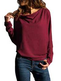 Pure Color Crew Neck Long Sleeve Loose Casual Blouse