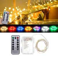 Battery Powered 5M 50LEDs Waterproof Silver Wire Fairy String Light for Christmas +Remote Control