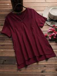 Women Pure Color V-neck Casual Summer Blouse