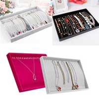 Velvet Necklace Curved Showcase Storage Holder Jewelry Display Tray