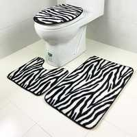 3 Sets Toilet Seat Zebra Pattern Carpet Fabric Printing Bathroom Mat Non-slip Floor Mat
