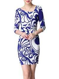 Elegant OL Slim Printed Beaded V Neck Bodycon Women Mini Dress