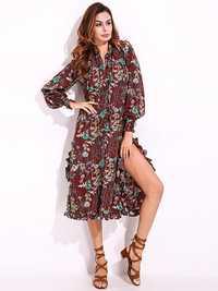 Elegant Women Floral Printed Chiffon Dresses