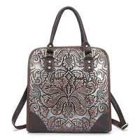 National Style Flower Embossment Shoulder Bag